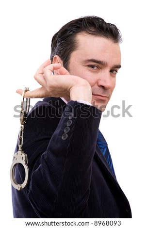 confident detective with handcuffs on white background