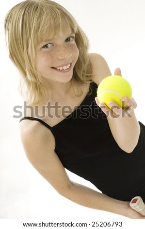 Confident Elementary Age Girl with Tennis Ball.