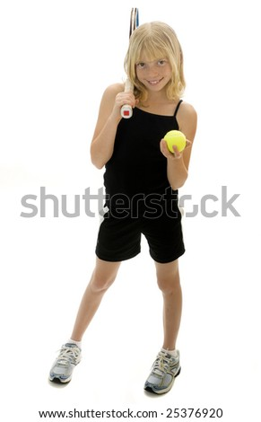 Confident Elementary Age Girl with Tennis Ball and Racket.  Isolated.