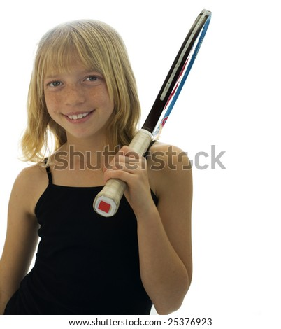 Confident Elementary Age Girl with Tennis Racket.
