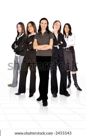 confident female business team over a white background