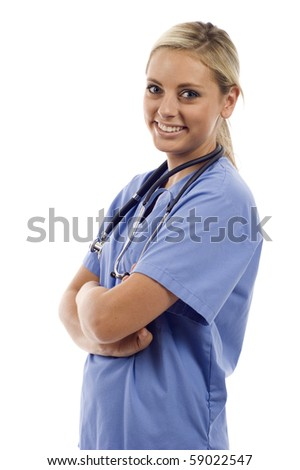 Confident female nurse, doctor with stethoscope isolated over white background