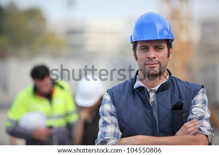 Confident foreman on construction site