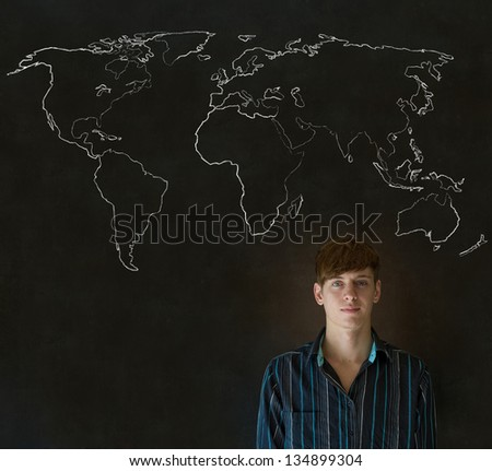 Confident handsome business man, teacher or student with chalk geography world map on blackboard background