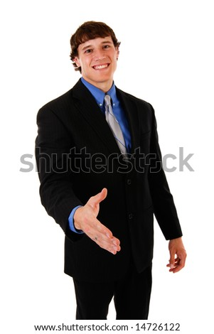 Confident Handsome Young Businessman Handshake Gesture on Isolated Background