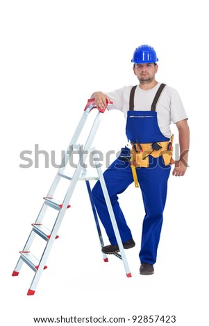 Confident handyman leaning on a ladder - isolated