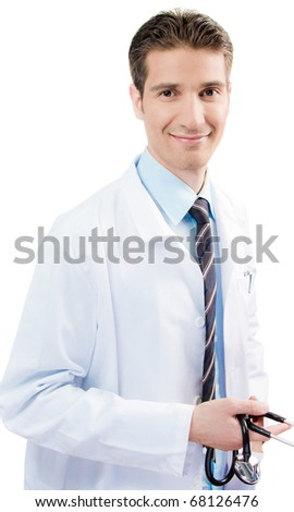 Confident happy male doctor