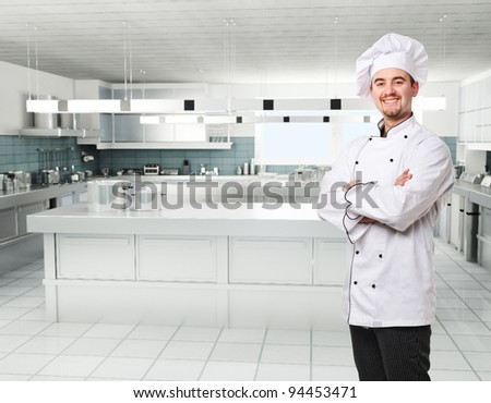 confident kitchen in professional kitchen