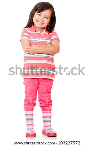 Confident little girl with arms crossed - isolated over a white background