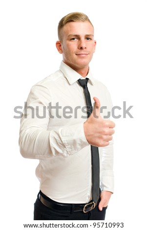 Confident looking young businessman showing big thumbs up.