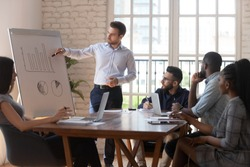 Confident male business trainer gives on flip chart presentation for diverse participants company staff, team leader explain graph strategy during corporate meeting seminar in modern light boardroom
