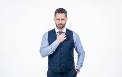 confident man businessman tie necktie isolated on white, formalwear