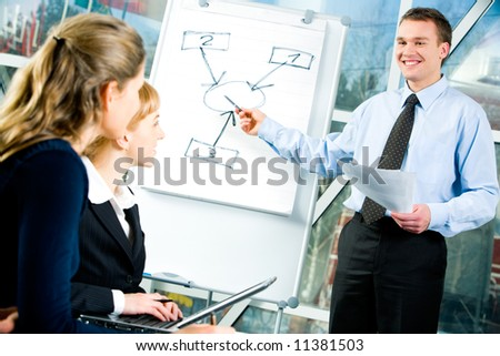 Confident man explaining a business strategy to coworkers