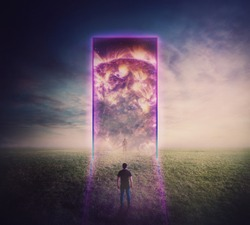 Confident man standing in front of a giant gate, neon portal leading to another reality. Magic tunnel entrance glowing ultraviolet. Space and time travel, teleportation door, mystic surreal scene.