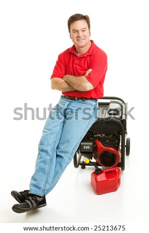 Confident man with his electric generator is ready for the storm.  Isolated on white.