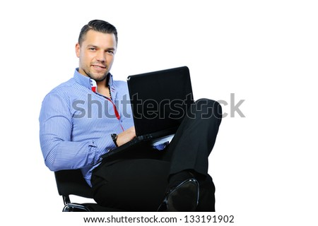 Confident man with notebook computer isolated on white