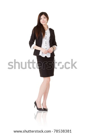 Confident manager woman of Asian, full length portrait of businessperson isolated on white background.