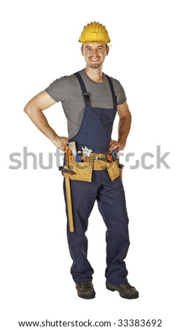 confident pose of young caucasian handyman with toolbelt