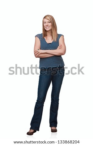Confident pretty woman full length standing isolated