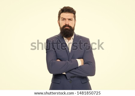 Confident sales manager. Bearded man in formal suit. Business success. Man with beard. Male fashion look. Bearded hipster. Bearded man hipster in jacket. Confident businessman. Bearded mature hipster.