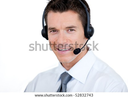 Confident sales representative man with an headset against white background