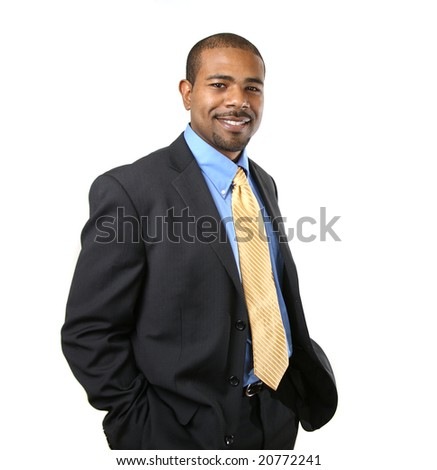 Confident smiling African American businessman isolated over white background