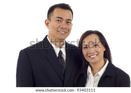 Confident smiling Asian couple isolated over white background