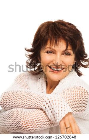 Confident smiling senior adult woman smiling