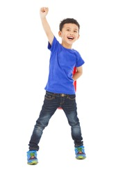 confident Superhero kid make a flying pose