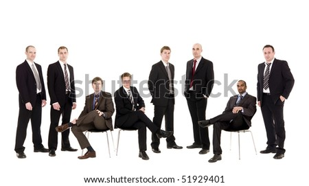 Confident team isolated on white background
