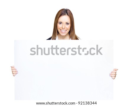 Confident Young Business Person Holding Large Blank Copy Space Sign With Space For Text In A Promotional Add, Presentation Or Empty Sales Sheet, White Background