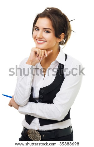 Confident young business woman with pen and amazing smile look at camera isolated on white