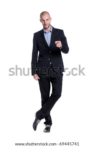 confident young businessman emotional