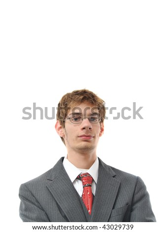 Confident Young Businessman Smiling isolated on white background with copyspace above his head.
