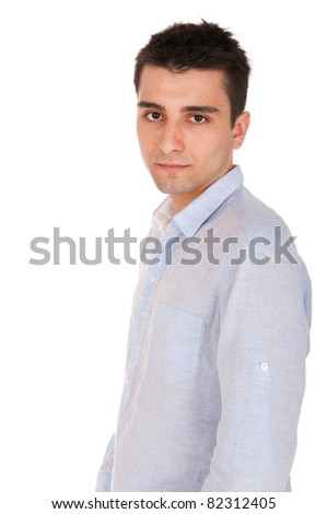confident young casual man posing (profile picture, isolated on white background)