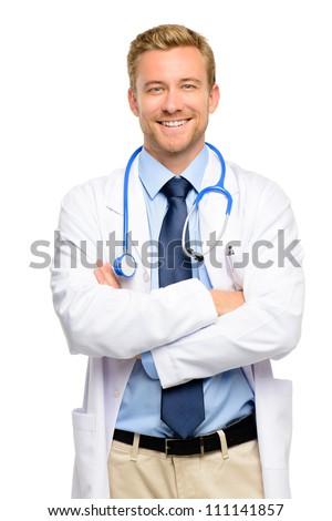 Confident young medical doctor on white background