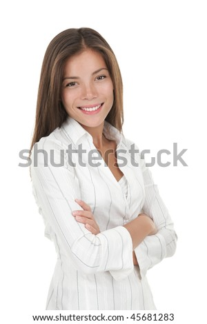 Confident young smiling businesswoman. Beautiful mixed race chinese / caucasian model isolated on seamless white background.