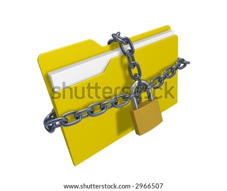 Confidential files (3d rendered folder with padlock and chain over white background)