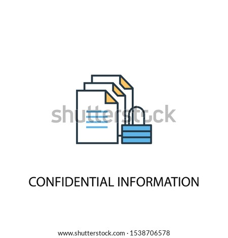 confidential information concept 2 colored line icon. Simple yellow and blue element illustration. confidential information concept outline symbol design