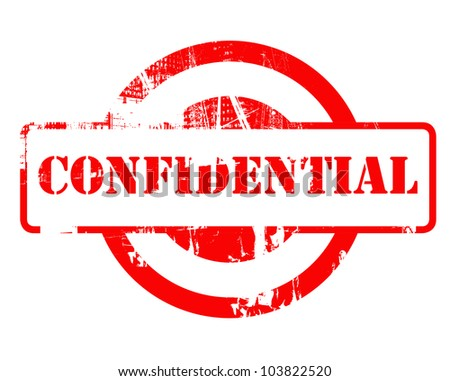 Confidential red stamp with copy space isolated on white background.