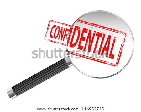 Confidential rubber stamp under a magnifying glass