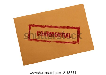 Confidential stamp on envelope with clipping path