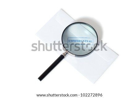confidential stamp on envelope with magnifying glass isolated on white background