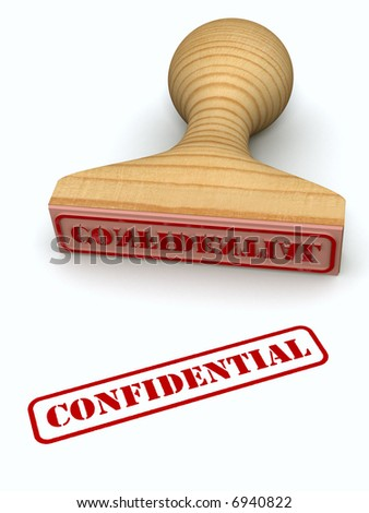 Confidential stamp test on white paper (High resolution 3d render)