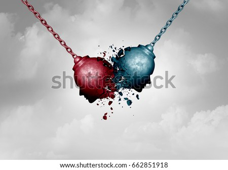 Conflict concept and clash of opponents symbol as two wrecking ball symbols shaped as a human head clashing together causing a destructive impact as a confrontation metaphor as a 3D illustration.
