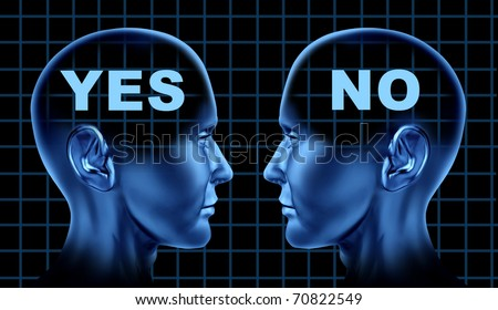 conflict different point of views opinion thoughts disagreement human heads face to face debate business symbol