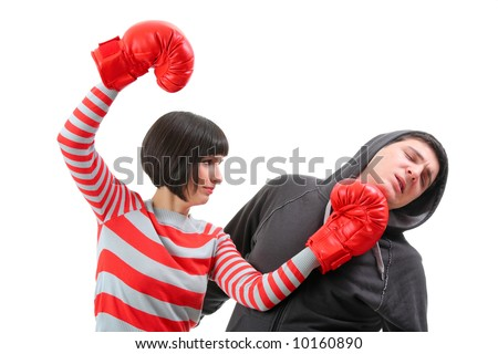 Conflict - Fight between girlfriend and boyfriend isolated against white background