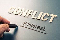 Conflict of Interest, hand writing text attach the letters word to complete concept