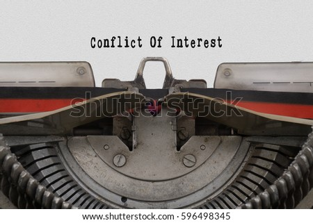 conflict of interest word typed ...