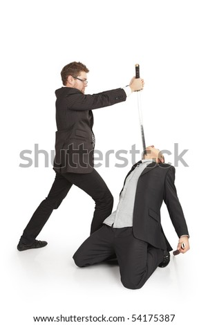 Conflicting businessmen fighting. Isolated over white